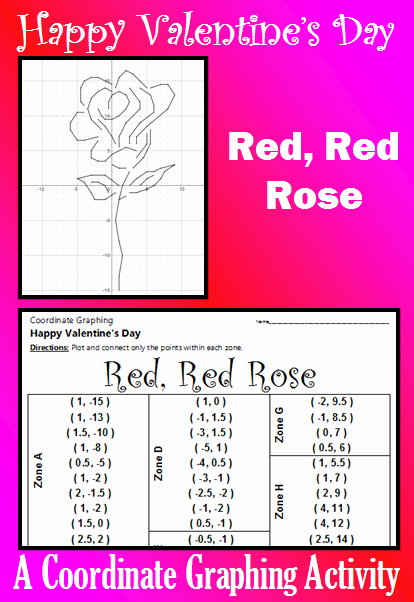 Valentine Day Coordinate Graphing Worksheets Lovely Valentine S Day Red Red Rose A Coordinate Graphing