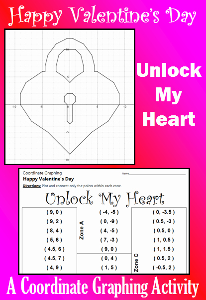 Valentine Day Coordinate Graphing Worksheets Lovely Valentine S Day Unlock My Heart A Coordinate Graphing
