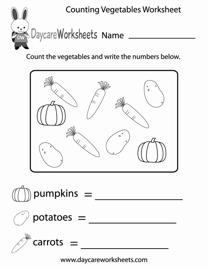 Vegetable Worksheets for Preschool Elegant Free Counting Ve Ables Worksheet for Preschool