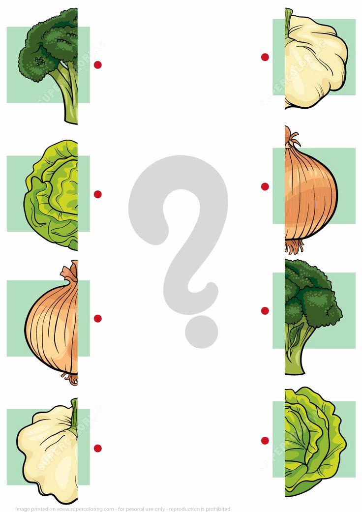 Vegetable Worksheets for Preschool Fresh Match Halves Of Ve Ables Worksheet