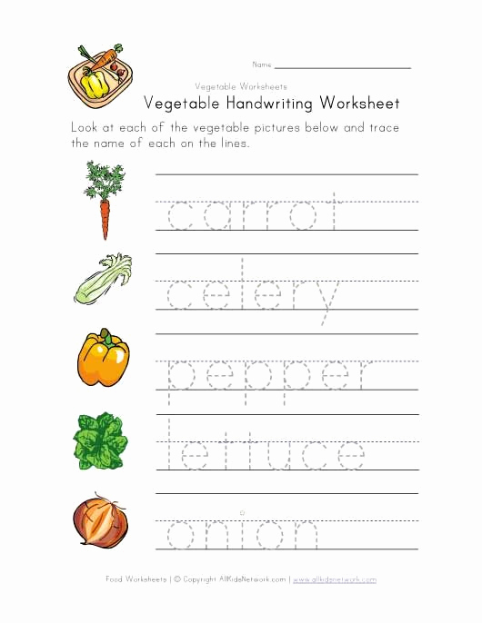 Vegetable Worksheets for Preschool Fresh Ve Able Handwriting Worksheet