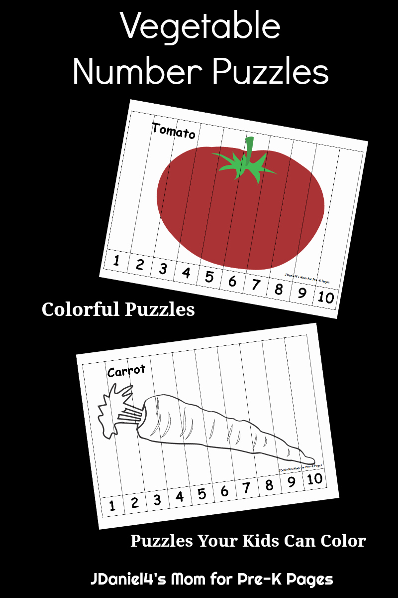 Vegetable Worksheets for Preschool Fresh Ve Able Number Puzzles for Kids Pre K Pages