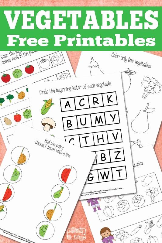 Vegetable Worksheets for Preschool Inspirational Fun Ve Ables Printable Pack