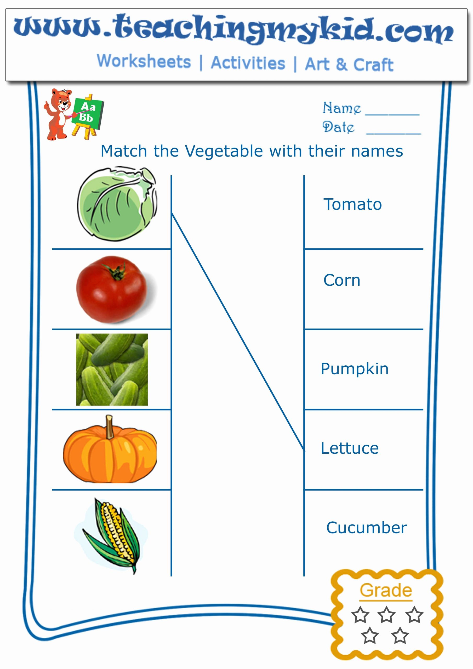 Vegetable Worksheets for Preschool Inspirational Fun Worksheet for Kids Color the Picture with Crayons