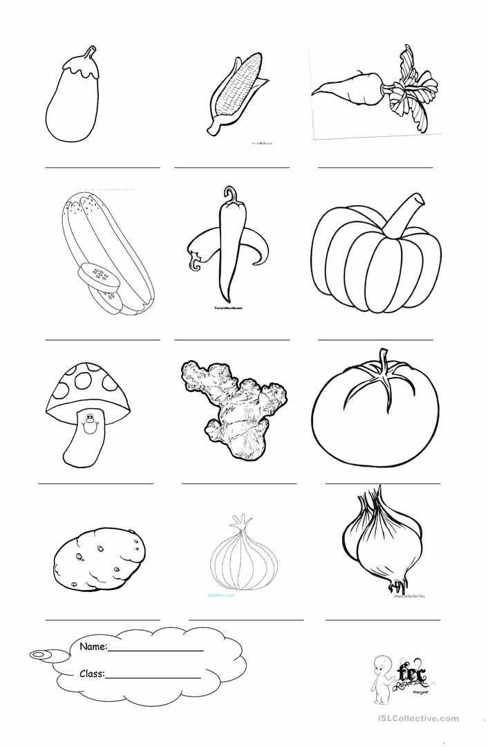 Vegetable Worksheets for Preschool Luxury Ve Ables Coloring English Esl Worksheets for