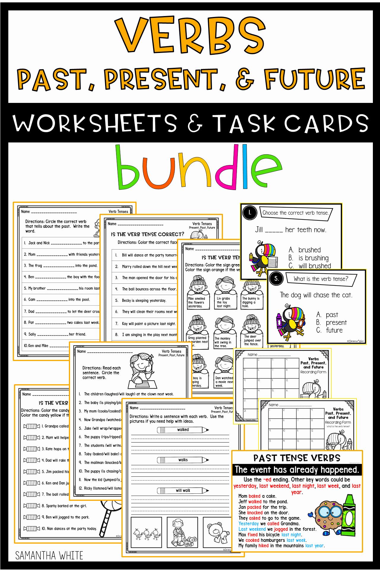 Verbs Past Present Future Worksheet Inspirational Verbs Past Present Future Worksheets & Task Cards