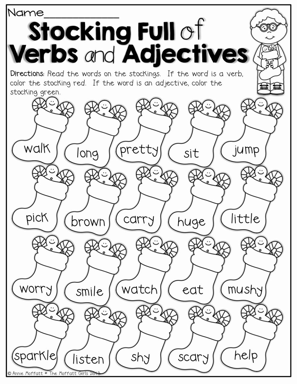 Verbs Worksheets First Grade Awesome Noun Verb Adjective Worksheet 1st Grade Kidsworksheetfun