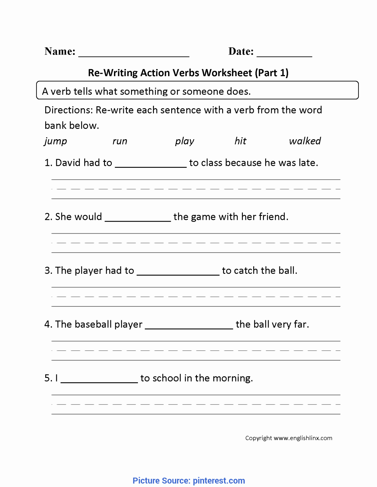 Verbs Worksheets First Grade Inspirational Great Lesson Plan Verbs Grade 1 Re Writing Action Verbs