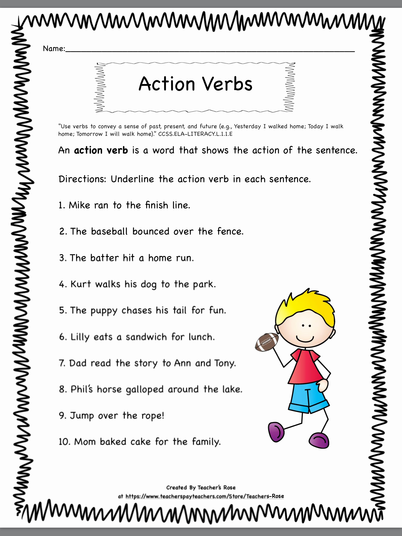 Verbs Worksheets First Grade Unique Verbs for First Grade