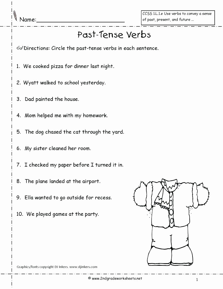 Verbs Worksheets for Middle School New Verb Tense Worksheets Middle School Past Tense Worksheets