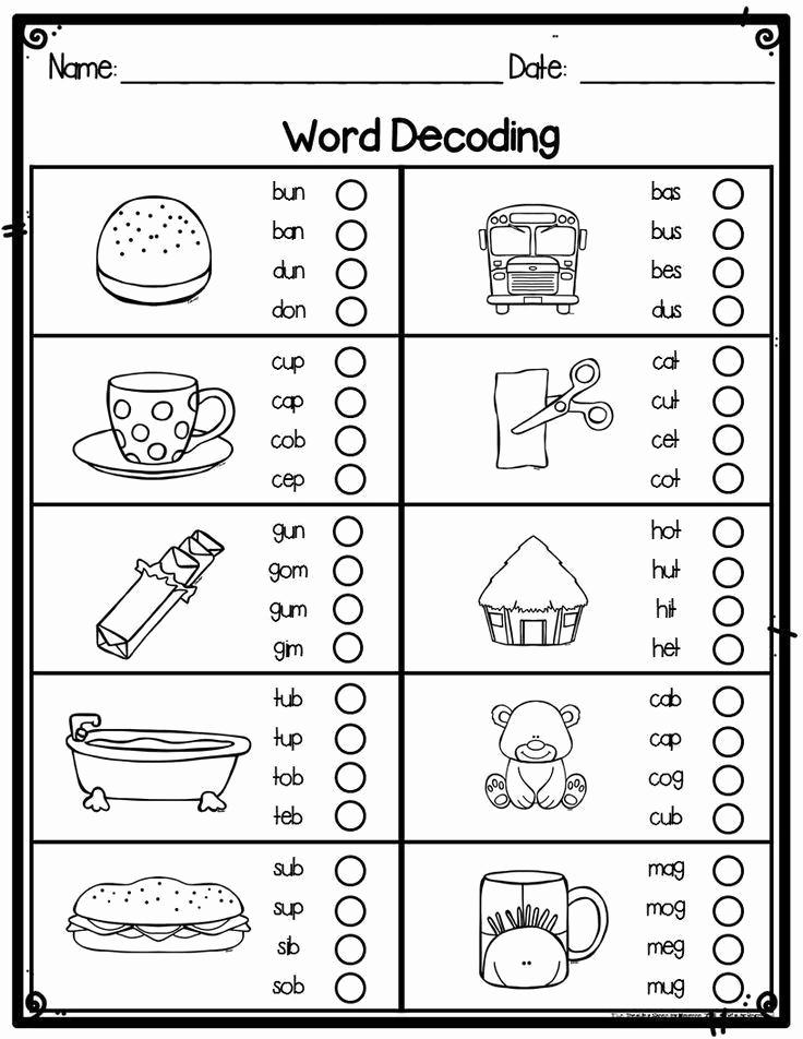Vocabulary Worksheets for 1st Graders Elegant First Grade Word Decoding Practice Worksheets or