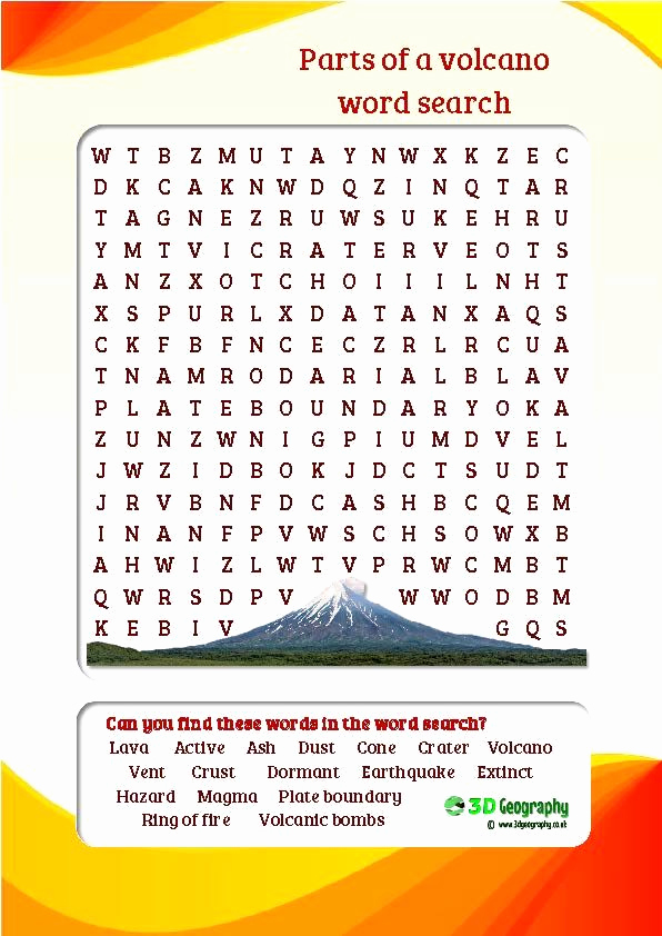 Volcano Worksheet for Kids Best Of Parts Of A Volcano Word Search Colourful and Child