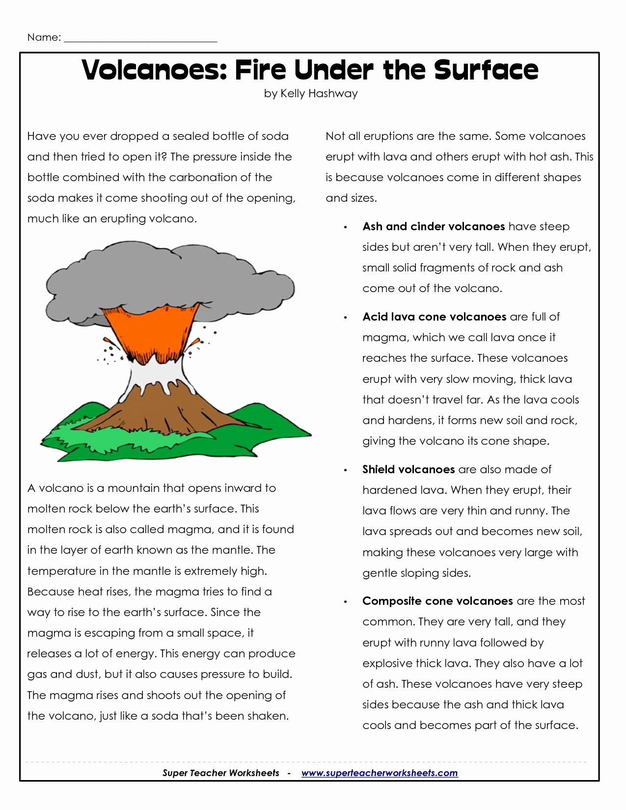 Volcano Worksheet for Kids Unique Parts Of A Volcano Printable