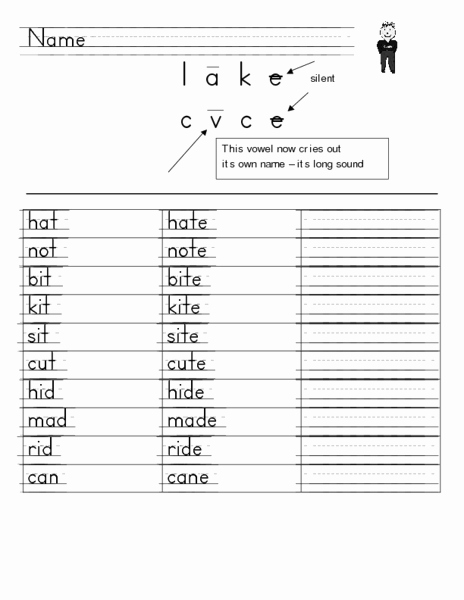 Vowel Consonant E Worksheets Best Of Consonant Vowel Consonant E Words Worksheet for 1st 2nd
