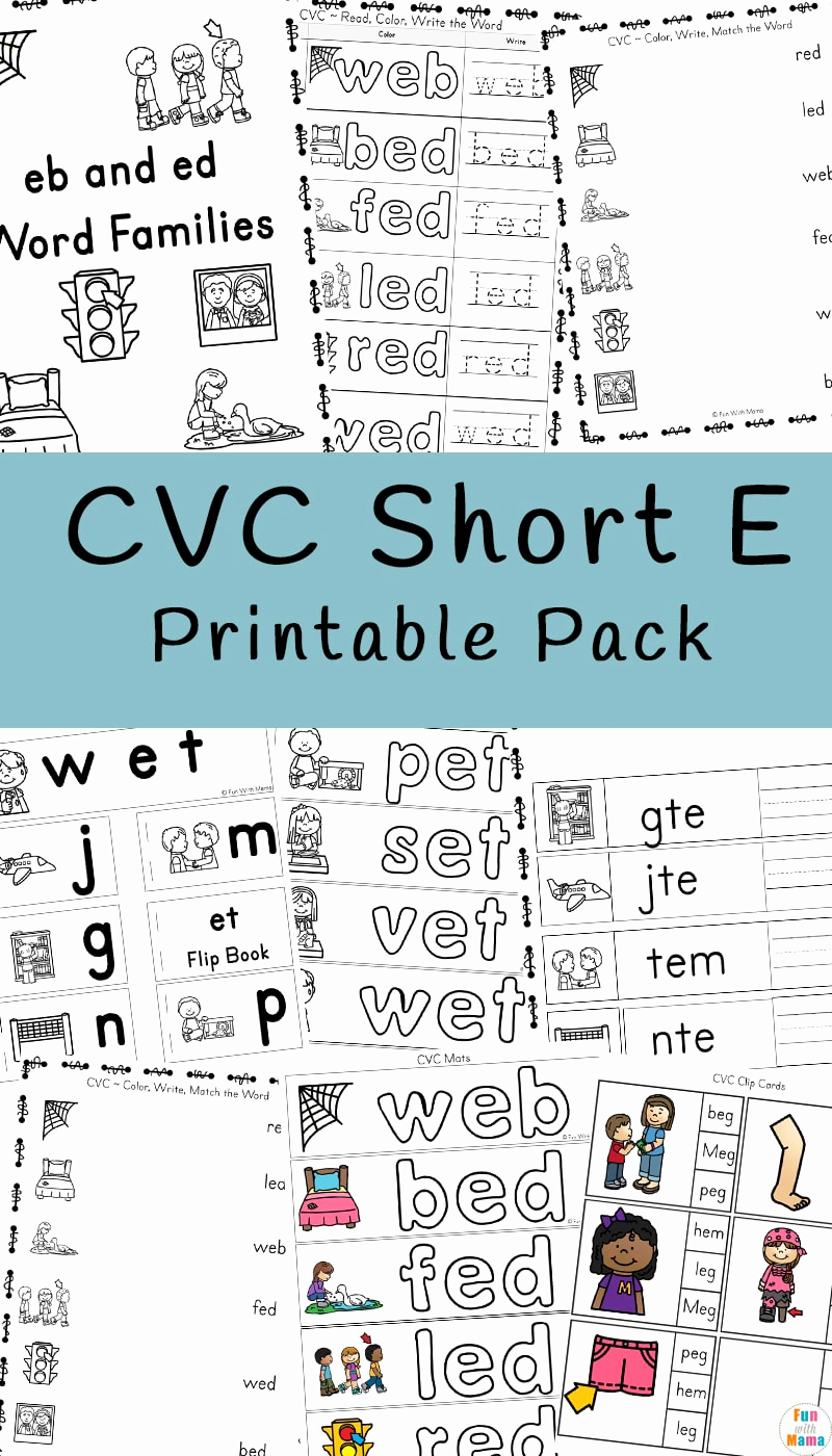 Vowel Consonant E Worksheets Fresh Cvc Short E Words Worksheets Fun with Mama