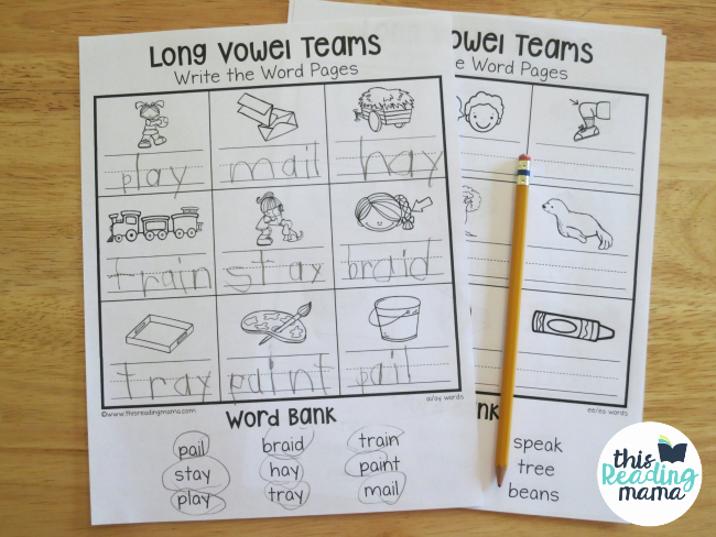 Vowel Team Ea Worksheets Best Of Long Vowel Teams Worksheets Write the Word Pages This