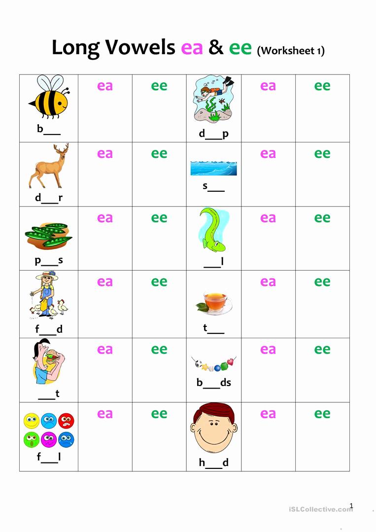 Vowel Team Ea Worksheets Best Of Long Vowels Ea & Ee Revision 1 English Esl Worksheets