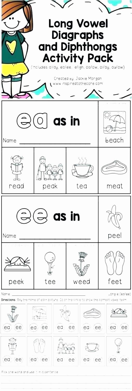 Vowel Team Ea Worksheets Elegant Free Printable Vowel Digraph Worksheets Phonics for Kids