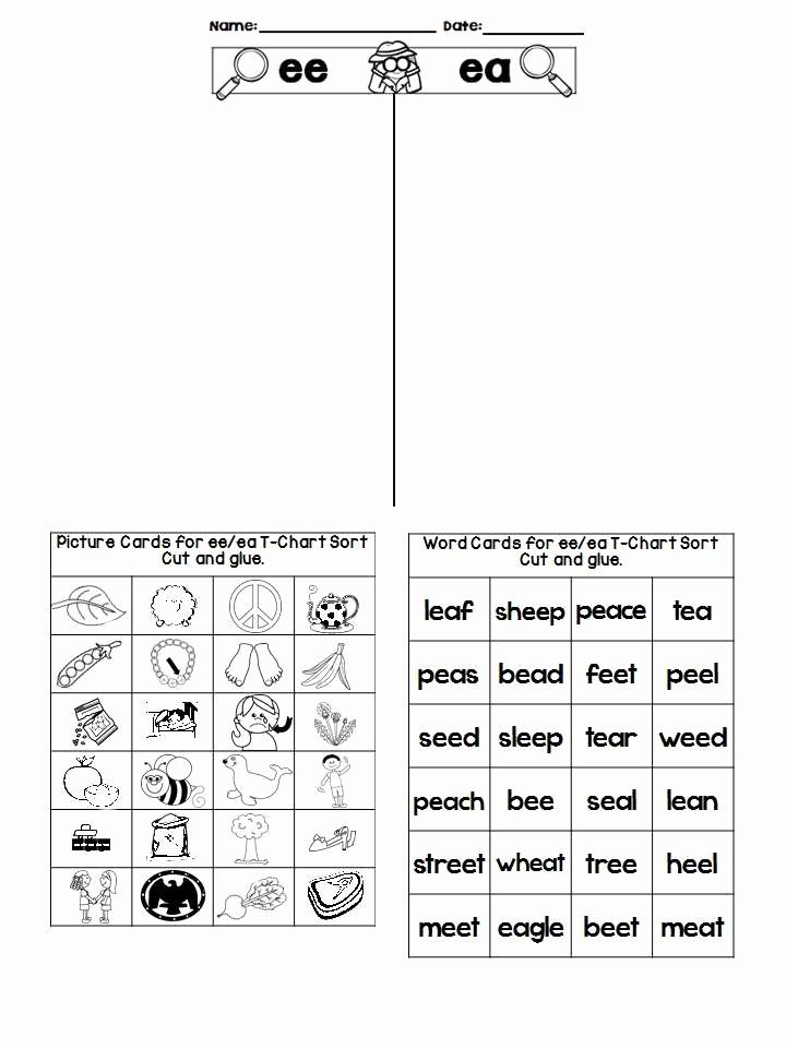 Vowel Team Ea Worksheets Elegant Vowel Pair Ee and Ea Phonics Instruction Using sorts