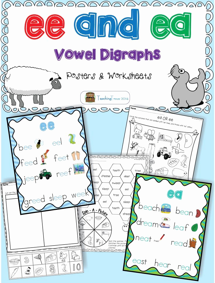 Vowel Team Ea Worksheets Inspirational Ee and Ea Vowel Digraphs Activities and Posters