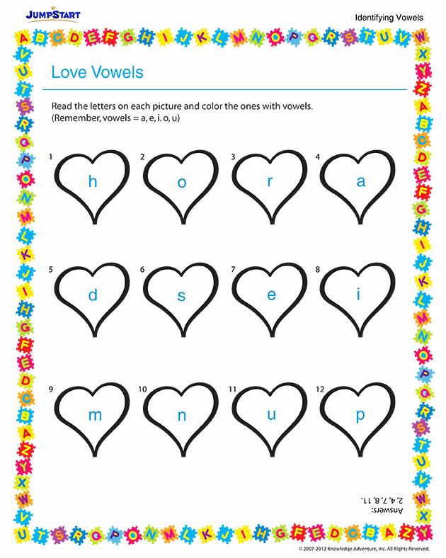 Vowel Worksheets for Kindergarten Awesome Love Vowels View – Free Vowels Worksheet for Kindergarten