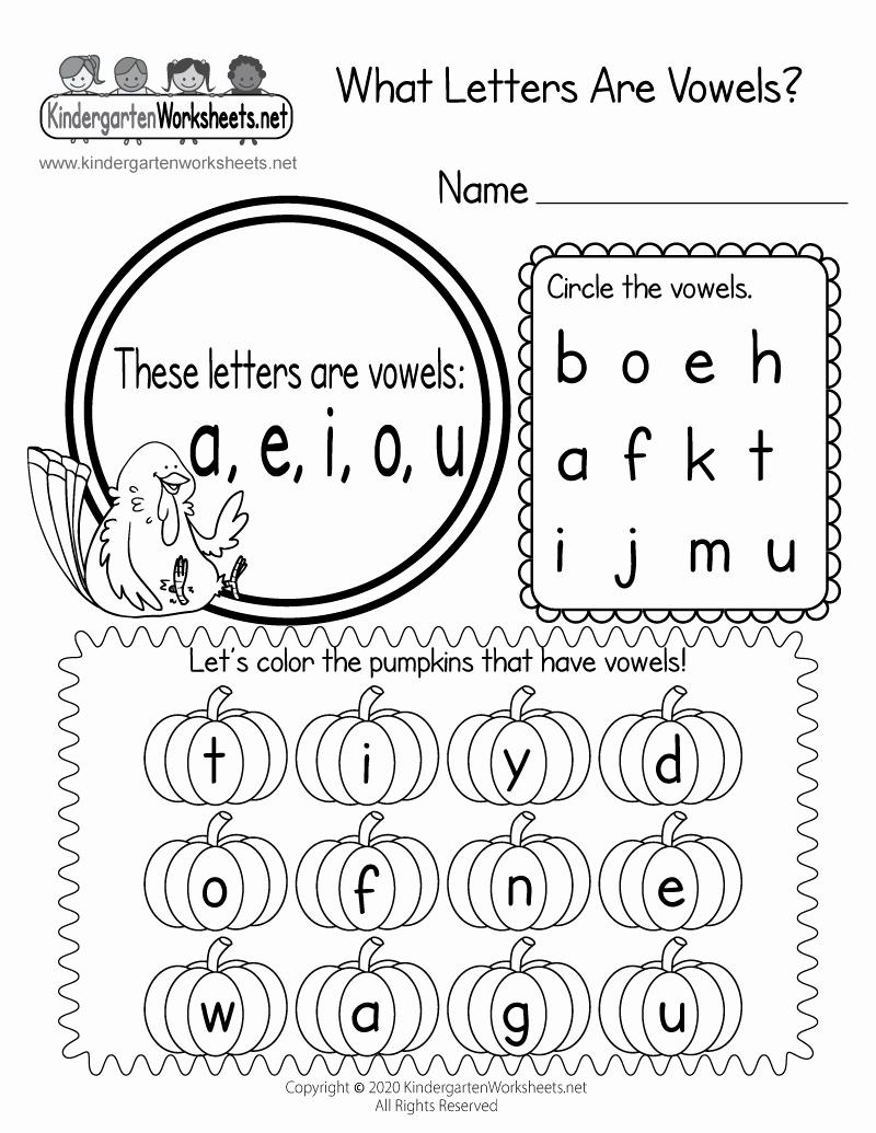 Vowel Worksheets for Kindergarten Awesome What Letters are Vowels& Worksheet Thanksgiving Vowel