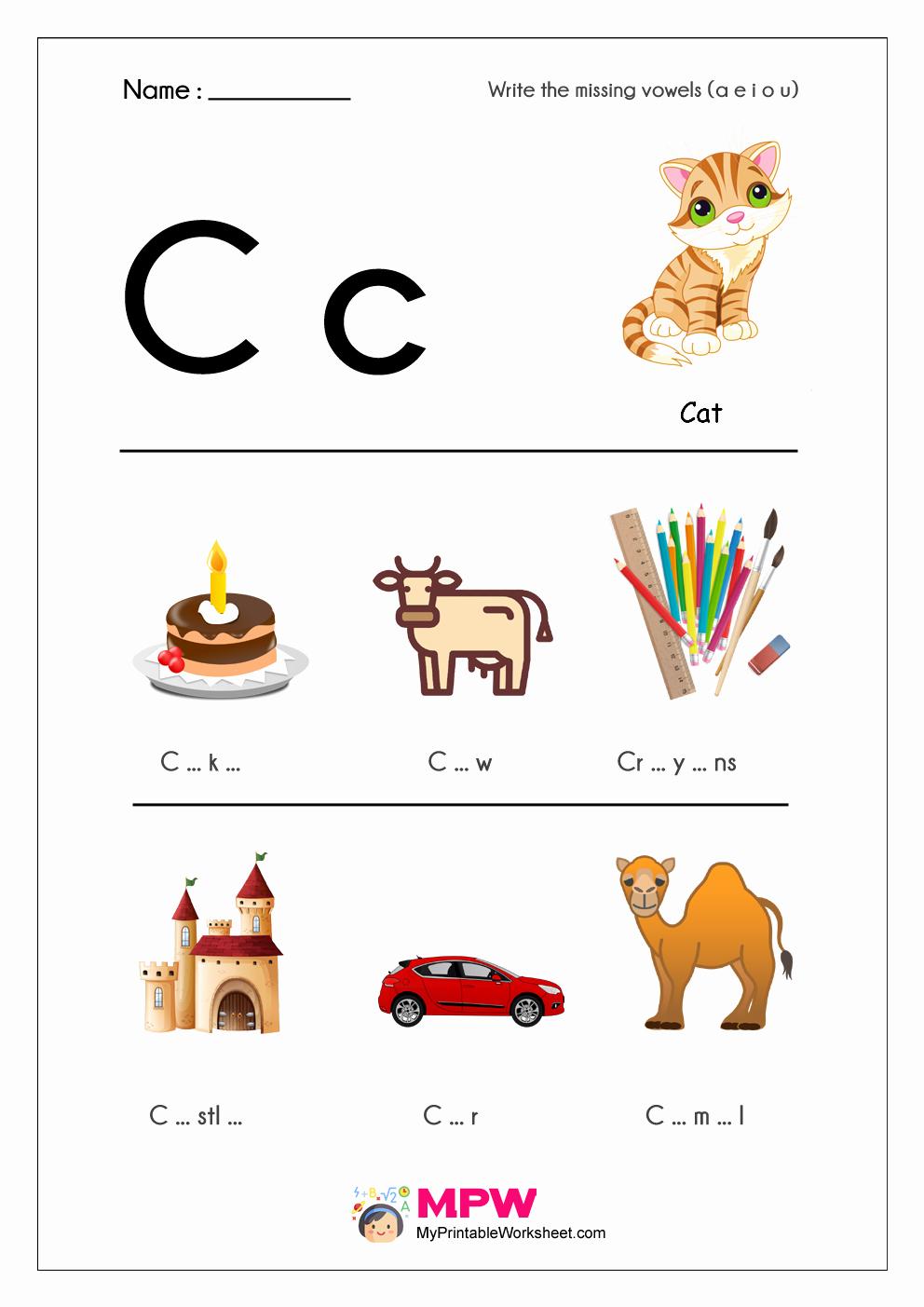 Vowel Worksheets for Kindergarten Beautiful Missing Vowels Worksheets A E I O U Vowels Worksheets for