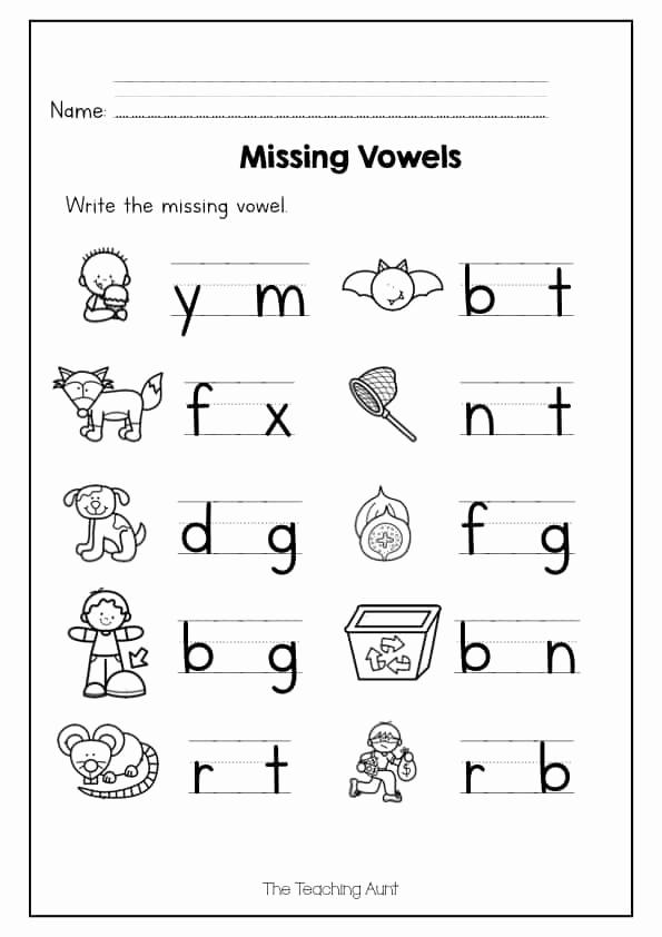 Vowel Worksheets for Kindergarten Elegant Missing Vowel Worksheets for Kindergarten the Teaching Aunt