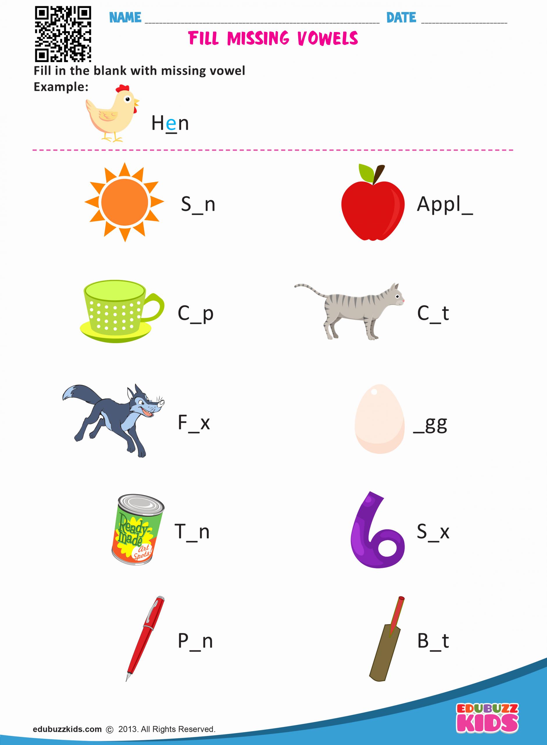 Vowel Worksheets for Kindergarten Fresh Kindergarten Missing Vowels Worksheets with Printable