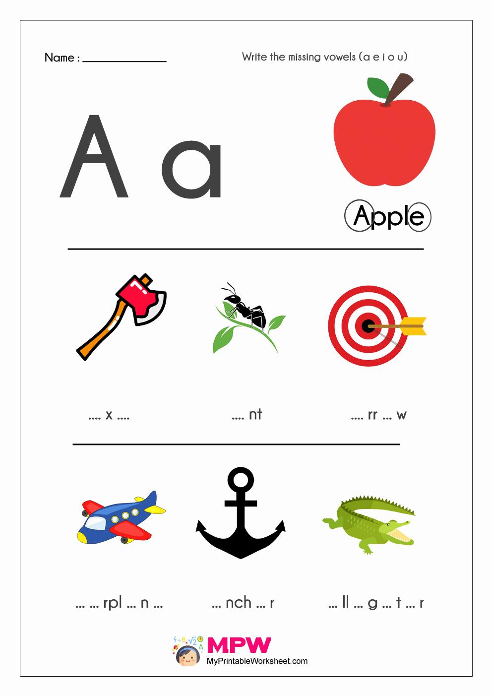 Vowel Worksheets for Kindergarten Fresh Missing Vowels Worksheets A E I O U Vowels Worksheets for