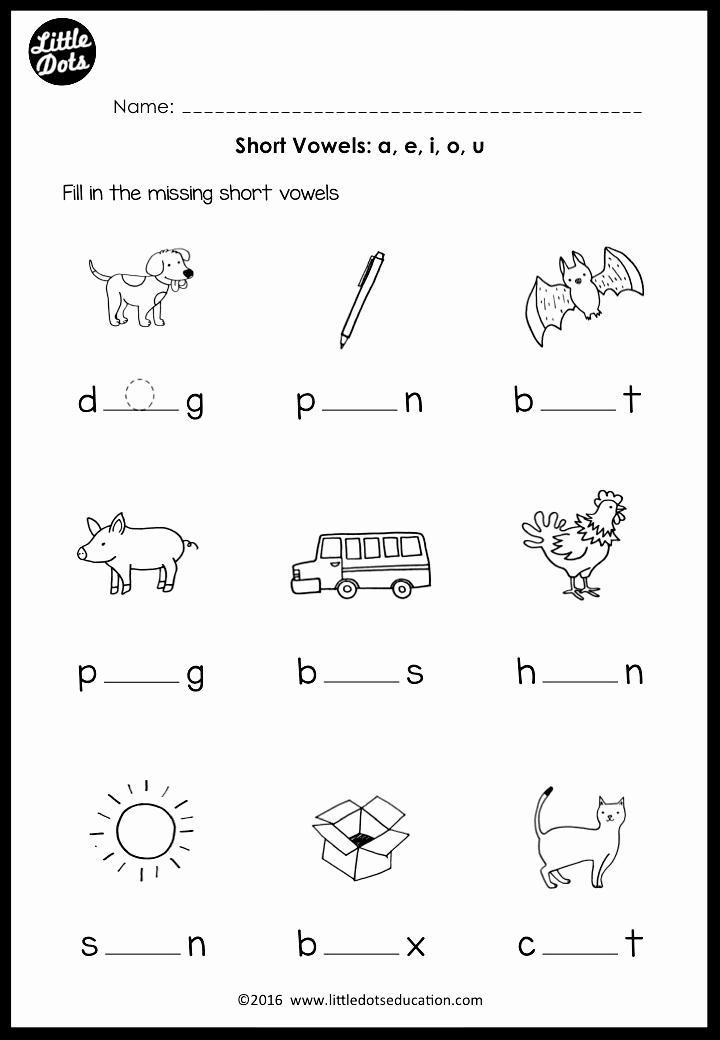 Vowel Worksheets for Kindergarten Fresh Short Vowels Middle sounds Worksheets and Activities