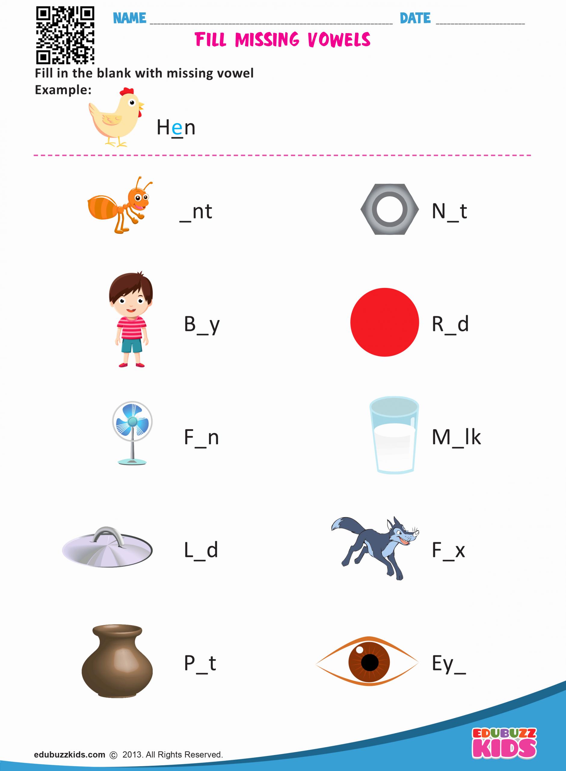 Vowel Worksheets for Kindergarten Lovely Kindergarten Missing Vowels Worksheets with Printable
