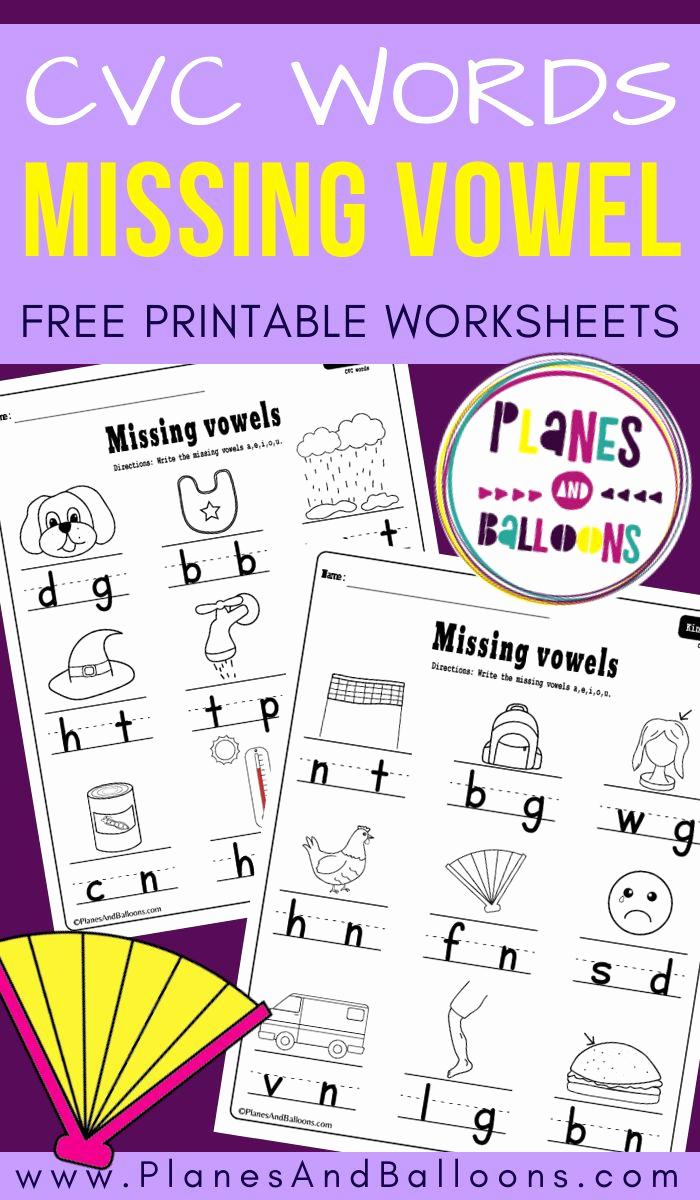 Vowel Worksheets for Kindergarten Lovely Missing Vowel Worksheets for Kindergarten Free Printable