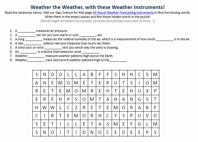 Weather tools Worksheet New Weather forecasting Instruments Facts Worksheet Image