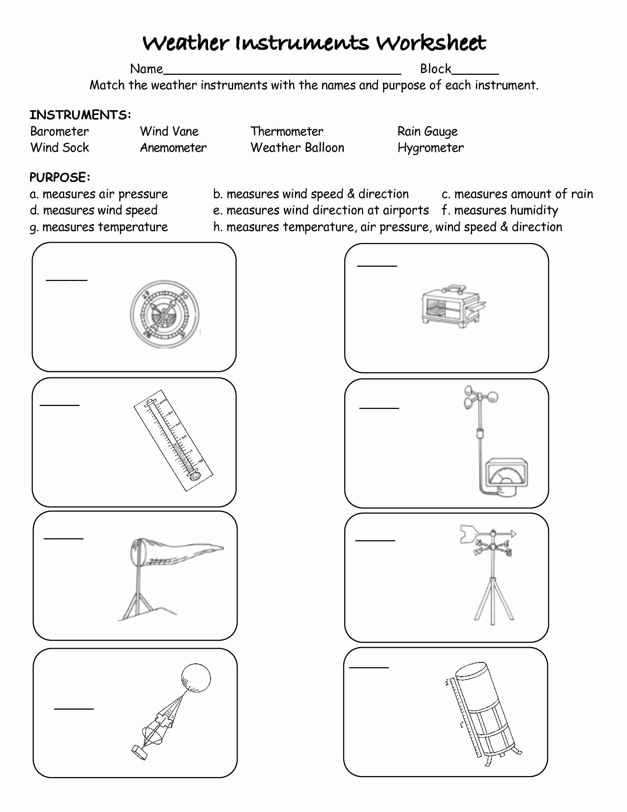 Weather tools Worksheet Unique Weather Instruments Printable Worksheets
