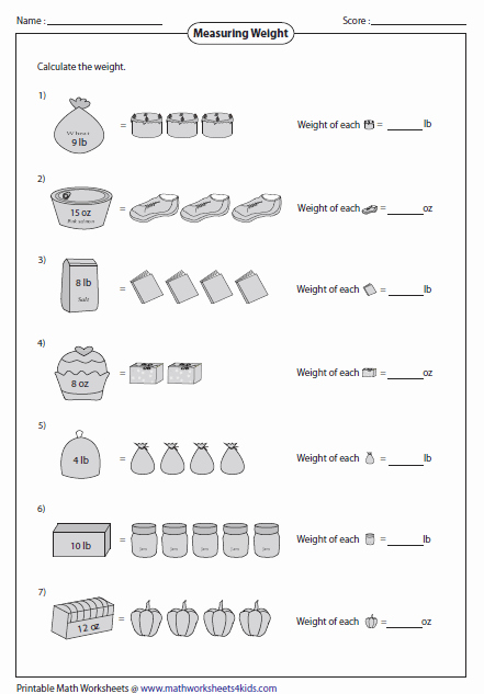 Weight Conversion Worksheets Elegant Weight Worksheets