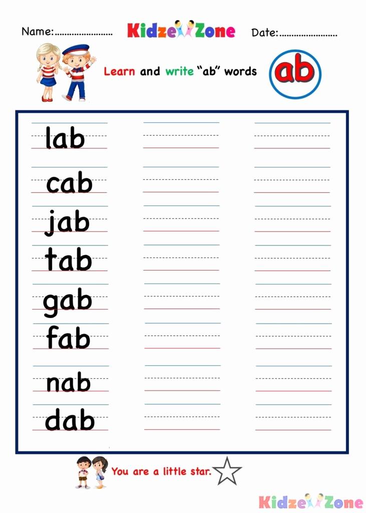 Word Family Worksheet Kindergarten Beautiful Ab Word Family Writing Words Worksheet Kidzezone