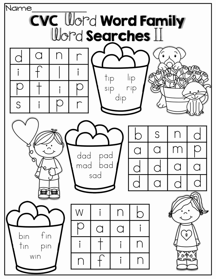 Word Family Worksheet Kindergarten Beautiful Simple Cvc Word Family Word Search