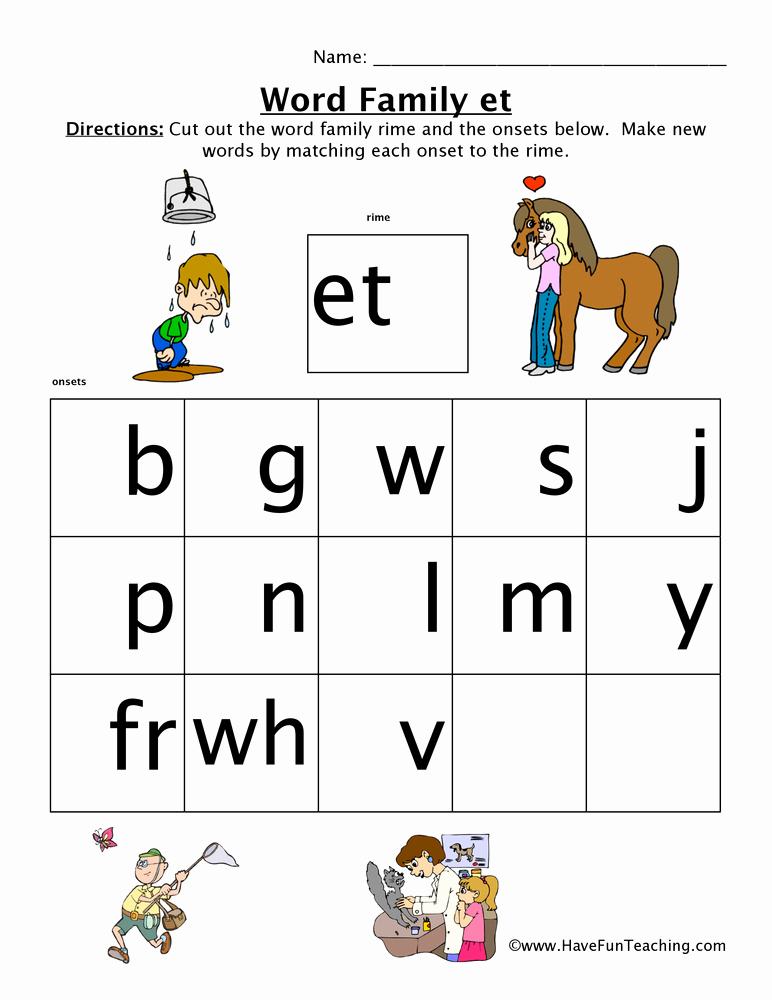 Word Family Worksheet Kindergarten Best Of Et Word Family Worksheet • Have Fun Teaching