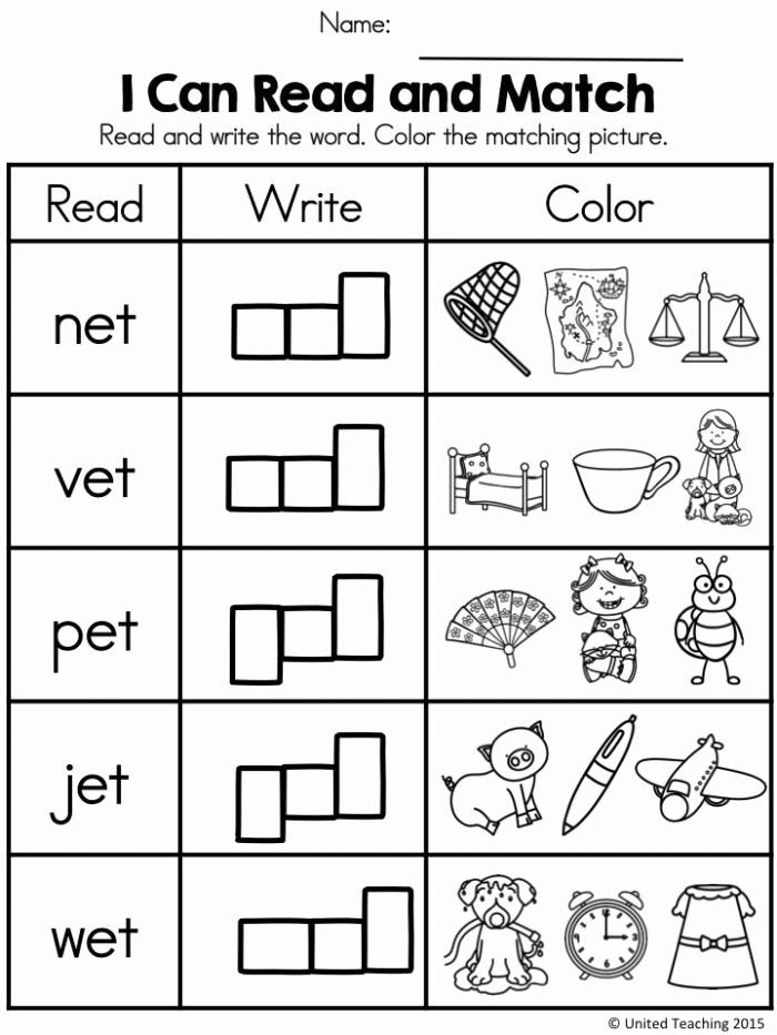 Word Family Worksheet Kindergarten Best Of Writing Word Families Et Words Worksheets