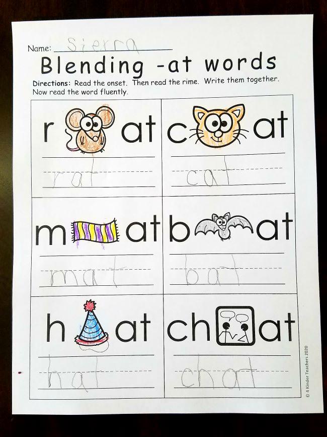 Word Family Worksheet Kindergarten Elegant Differentiated Word Family Worksheets 4 Kinder Teachers