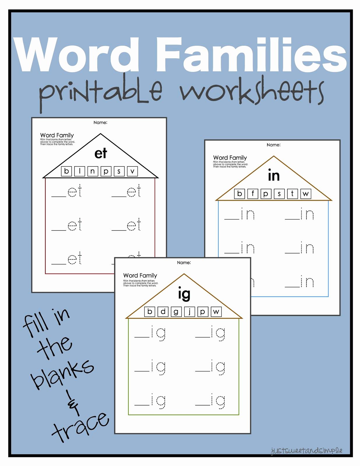 Word Family Worksheet Kindergarten Inspirational Just Sweet and Simple Preschool Practice Word Family