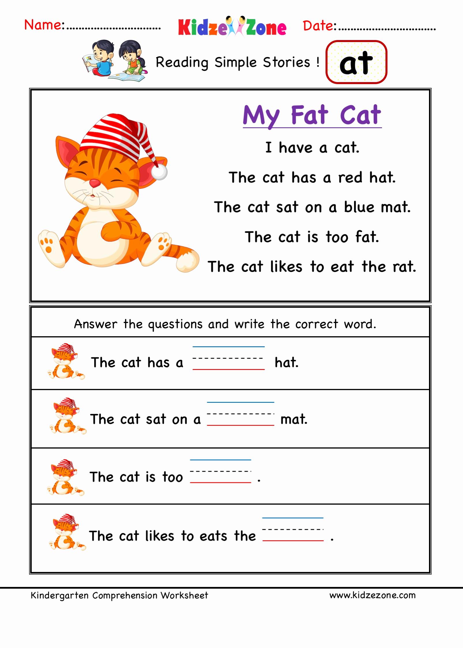 Word Family Worksheet Kindergarten Inspirational Kindergarten Worksheets at Word Family Reading