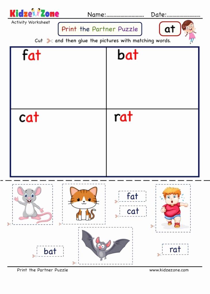 Word Family Worksheet Kindergarten Luxury Kindergarten Worksheets at Word Family Cut and Paste 3