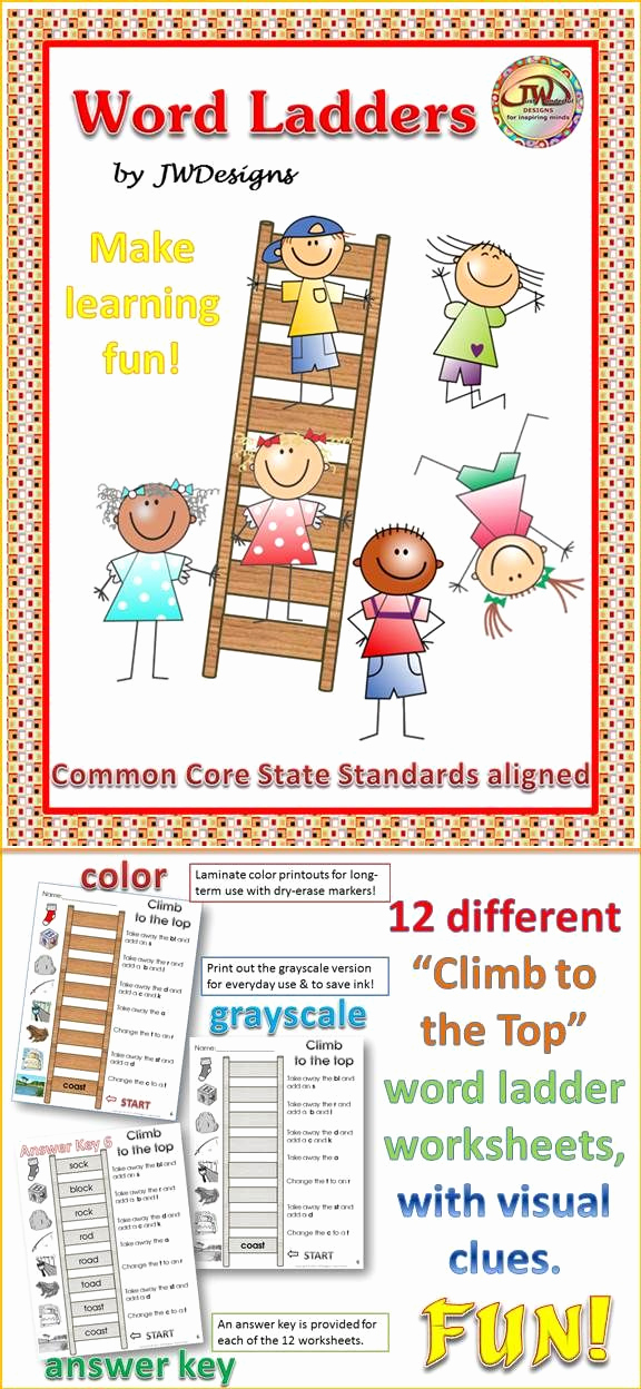 Word Ladder Worksheets Awesome Word Ladders Vol 1