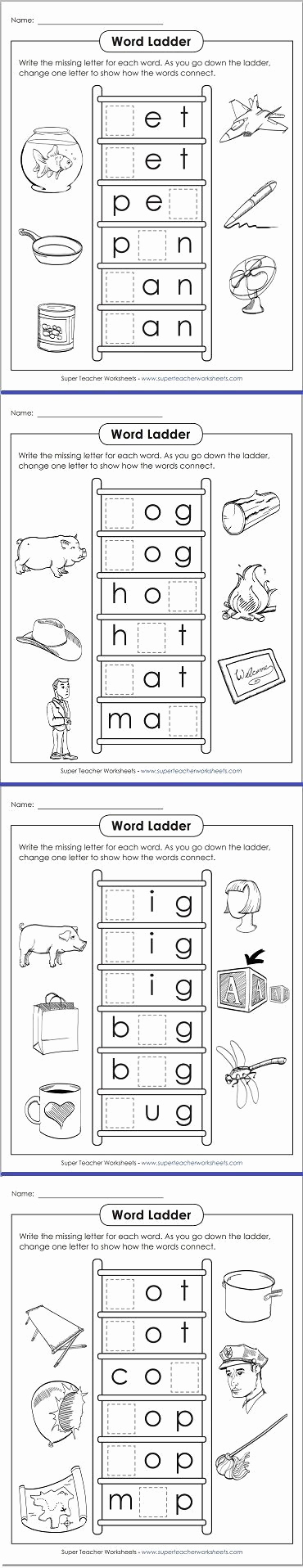 Word Ladder Worksheets Fresh Take A Look at these Fun Word Ladders for Phonics Practice