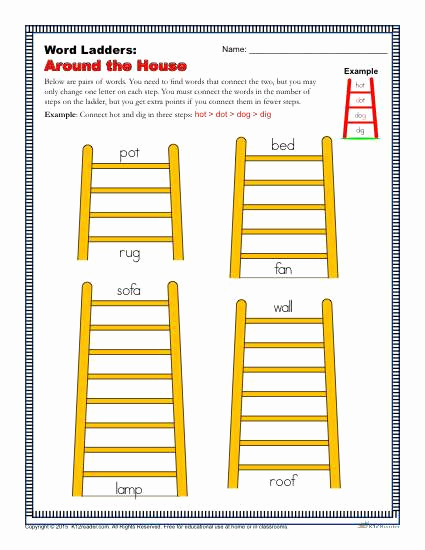 Word Ladder Worksheets Lovely Around the House Word Ladders