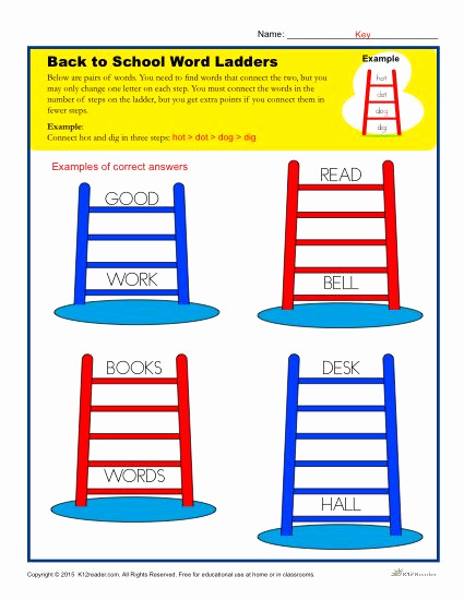 Word Ladder Worksheets Lovely Back to School Word Ladder Worksheet for Elementary School