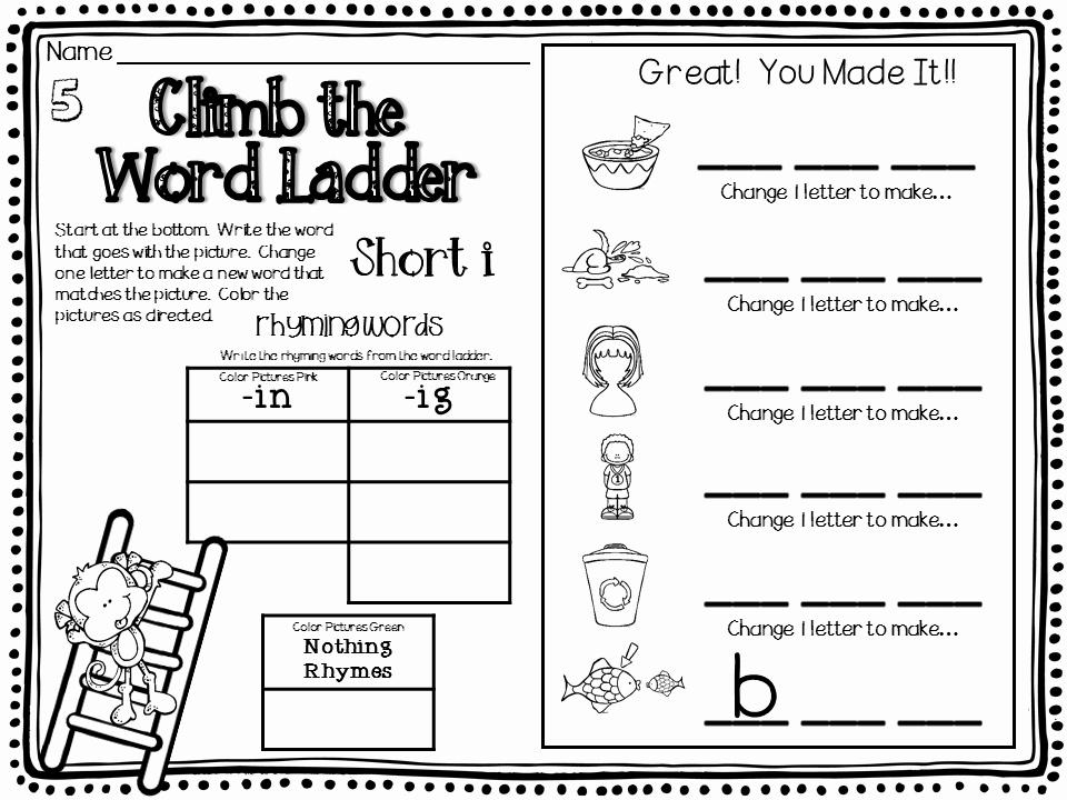 Word Ladder Worksheets Lovely Word Ladders Short Vowels