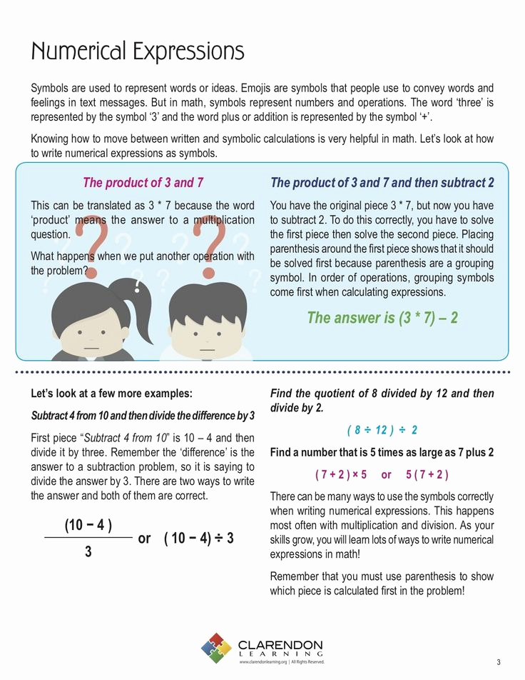 Writing Numerical Expressions Worksheets Best Of Writing Numerical Expressions Worksheet Numerical
